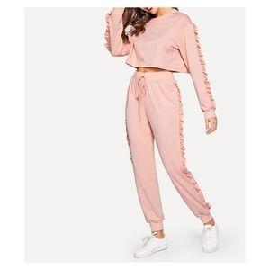 Pink Ruffle Trim Drawstring High Waist Sweatpants